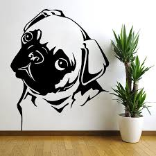 compare prices pet wall art sticker online shopping buy low removable waterproof pet pug dog vinyl wall art sticker animal decal mural home decor