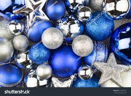 blue silver balls background stock photo