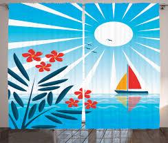 Sailboat Home Decor Kids Curtains 2 Panels Set Oleander And Sailboat Home Decor Ebay