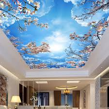 custom wall mural painting blue sky white clouds peach blossom