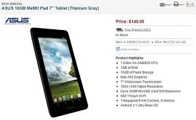 asus android tablet asus memo pad 7 inch android tablet now available in u s for 149