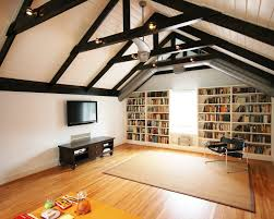 Living Room Bonus - board and batten ceiling living room traditional with sloped