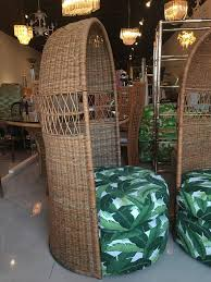 Dome Chairs Rattan Dome Hooded Pair Of Vintage Chairs Tropical Leaf Palm Beach