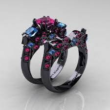 black and pink wedding ring sets pink and black wedding rings project royale