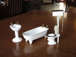 vintage dollhouse porcelain bathroom set white ceramic doll house