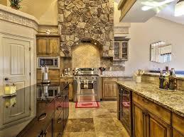 rustic kitchen with limestone tile u0026 one wall in meridian id
