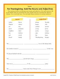 printable thanksgiving worksheet add the nouns and adjectives