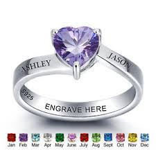 personalized birthstone ring personalized birthstone rings custom silver name rings promise