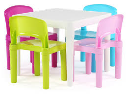 kids plastic table and chairs amazon com tot tutors kids plastic table and 4 chairs set bright