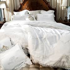 white 100 egyptian cotton bedding set lace duvet cover satin bed