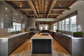 modern rustic home interior design outstanding cupboards and island applied for kitchen of rustic