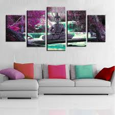 wall theme wall canvas painting buddha theme mural artwork combination for
