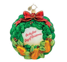 christopher radko christmas ornament partridge pear wreath 34 3
