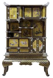 19th century japanese black and gold lacquered display cabinet for