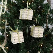 set of 3 vintage present hanging tree decorations with