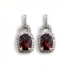 garnet earrings garnet earrings with diamond halo justice jewelers