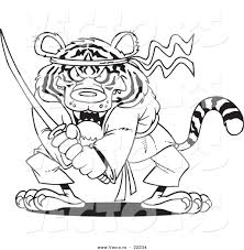 vector of a cartoon samurai tiger with a sword outlined coloring