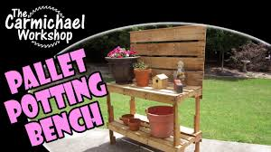 Garden Potting Bench Build A Garden Potting Bench Woodworking With Free Pallets Youtube