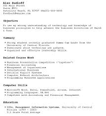 resume examples for students with no work experience high