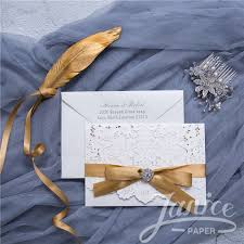 wedding invitation pocket graceful pearl white laser cut pocket wholesale wedding invitation