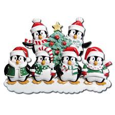 or629 6 winter penguin family of 6 personalized