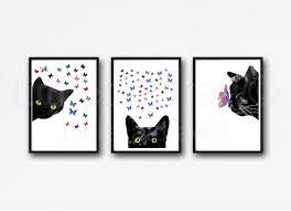 black cat print set of 3 watercolor painting print black cat with