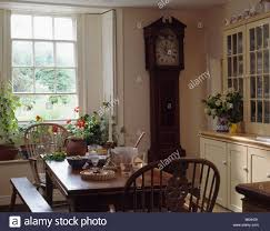 Country Dining Rooms by Longcase Clock In Small Country Dining Room With Windsor Chairs