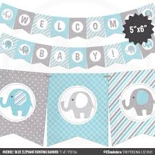 blue elephant baby shower decorations blue elephant baby shower banner boy baby banner blue and gray