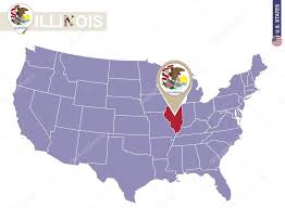 map usa illinois illinois state on usa map illinois flag and map stock vector