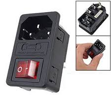 1pc power rocker switch iec 3 pin 320 c14 inlet power sockets