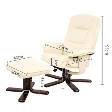 pu leather recliner ottoman chair office lounge couch armchair
