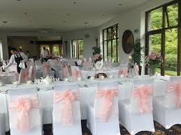 pink chair sashes white chair covers pale baby pink sashes bron eifion country