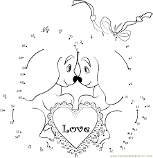 cute valentines day dogs dot to dot printable worksheet connect