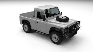 land rover defender white land rover defender 90 pick up w interior 3d model obj fbx stl