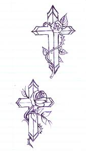 tribal and rose flowers with dagger cross tattoo design