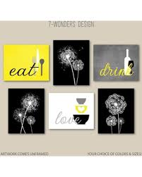 black and white prints for kitchen etsy 7wondersdesign kitchen wall print set eat drink dandelions yellow grey black white modern decor set of 6 prints or canvas