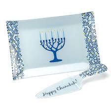 hanukkah plates gifts serving plates glass tree of chanukah