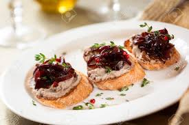 pate canapes canapes with chicken liver pate and chutney stock photo
