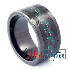 tungsten black rings images Black tungsten ring green carbon fiber bomber jpg