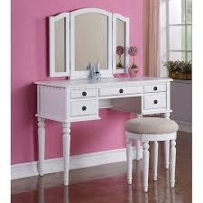 Mirrored Vanity Stool White Makeup Vanity Table Tri Folding Mirror Vanity Set Makeup