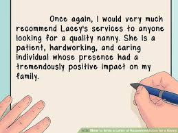 how to write a letter of recommendation for a nanny with sample