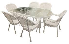 wicker kitchen furniture amazon com lb international boi 97817w 7 piece white resin