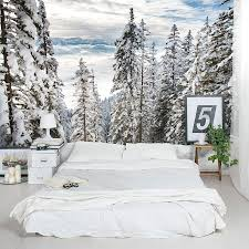 Wall Mural White Birch Trees Alps Winter Forest Wall Mural