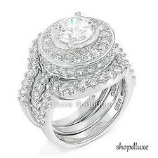 wedding ring sets for women 4 95 ct halo cut 925 sterling silver wedding ring set