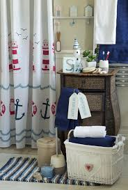Nautical Bathroom Curtains Mesmerizing Lighthouse Nautical Bath Accessories Ideas With Rattan