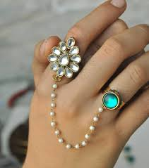 double rings jewelry images Kundan two finger ring pearl chain ring adjustable double jpg