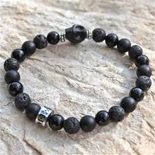 onyx skull bracelet images Mean clothing company mean skull black onyx lava rock bracelet jpg