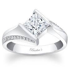 princess cut white gold engagement ring barkevs 14k white gold princess cut tension