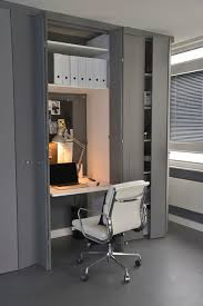bi fold closet doors home office contemporary with built in desk