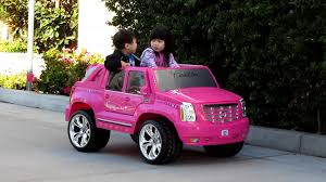 pink toy jeep ariel test driving power wheels pink cadillac escalade youtube